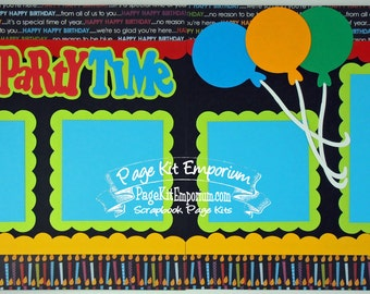 Scrapbook Page Kit Birthday Party Boy Girl 2 page Scrapbook Layout 86