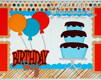Scrapbook Page Kit Birthday Boy Balloons Cake 2 page Scrapbook Layout 76