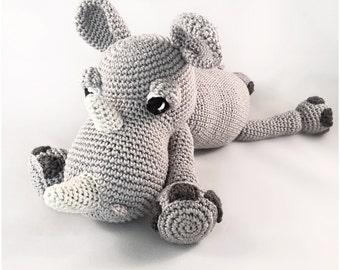 Rhino crochet pattern amigurumi pdf tutorail in Dutch, Deutsch and English US-terms