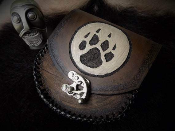 Leather Belt Pouch - Wolf Paw Moon - Festival Bushcraft Possibilities Bag