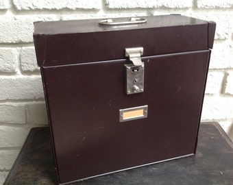 Vintage industrial brown Mystrong metal file Box expandable file Manila envelopes