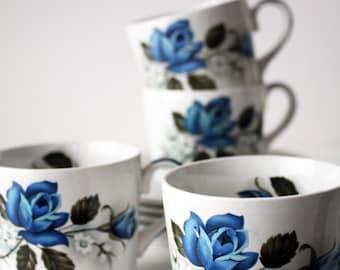 Blue Rose Cup and Saucer Set 1960s -inc Sugar Bowl and Milk Jug