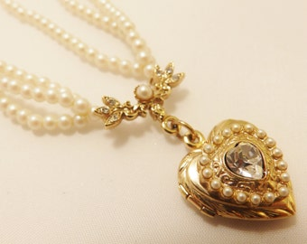 Gold Tone Faux Pearl and Rhinestone  Heart Locket Necklace