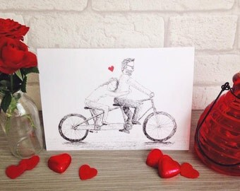 Lovers on a tandem bicycle. Wedding card. Anniversary card. Engagement card. Bike card. Love. Tandem. Couple. Lovers