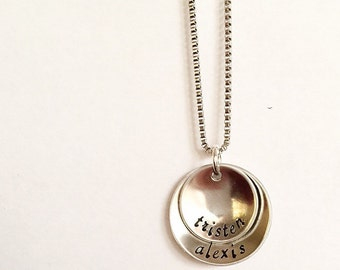Hand stamped necklace - Mother's necklace - Grandmother's necklace - Name Necklace - Custom gift - Pewter necklace - Nesting necklace