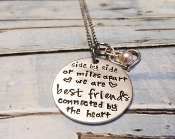Best friends necklace - Hand stamped necklace - Best friends connected by the heart - Best friends jewelry - Long distance friendship