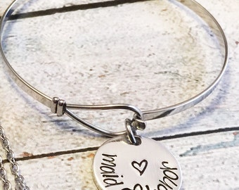 Bridal party gifts - Hand stamped jewelry - Maid of honor gift - Bridesmaid gift - Flower girl gift - Wedding gifts - Bridal party thank you