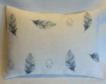 Cushion Cover in Peony & Sage FEATHER and EGG in Bamburgh Blue -  Fabulous British Design