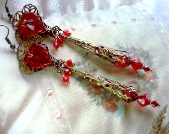 Vintage Earrings, Victorian Earrings, Handmade Earrings, Lucite Earrings, Flower Dangles, Cottage Chic Earrings, Hand Painted Boho Earrings