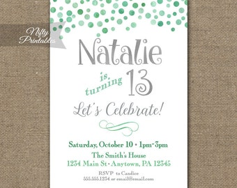 Teen Birthday Invitations - Mint Confetti Birthday Party Invitation - Girl Teen Tween Printable 10th 11th 12th 13th 14th 15th 16th 17th 18th
