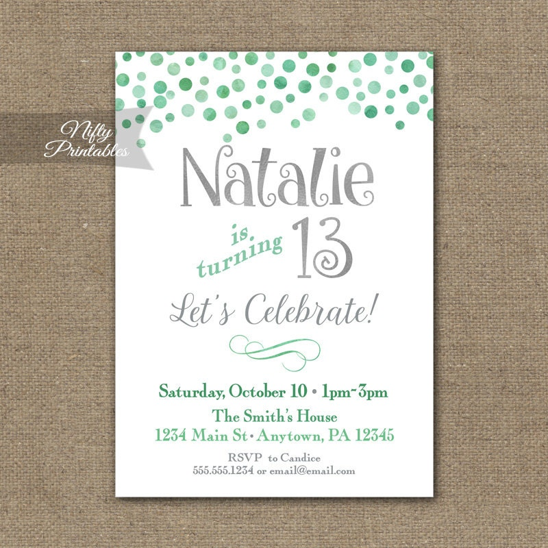 teen birthday invitations mint confetti birthday party, Birthday invitations