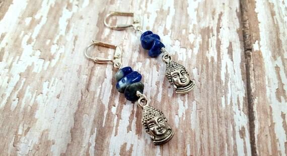 Lapis Lazuli Buddha Earrings - Dark Blue Gemstone Chip Dangle Earrings - Bohemian Earrings - Hippie Earrings - Zen Earrings - Yoga earrings