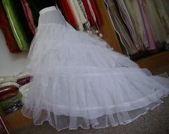 White Black Chapel Train Petticoat under skirt slips hoop skirt crinoline