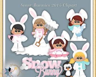 Winter Clipart, Snow Bunnies 2015