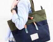 GREY BAG : 3 ways bag / tote bag / messenger bag / laptop bag
