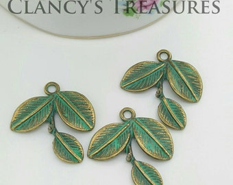 10 Tree Leaf Charm Verdigris Patina Brass Tree Leaf Charm, Nature, Craft Supplies, Jewelry Findings, Ships from Florida U.S.