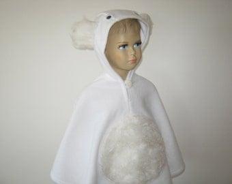 polar bear halloween carnival costume cape for toddlers white