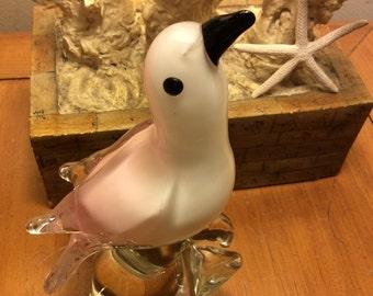 Hand blown glass pink beach bird.
