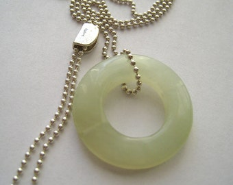 Gofish 12 - Lariat Necklace, Silver Sterling Chain and Pale Green Korean jade Pendant.