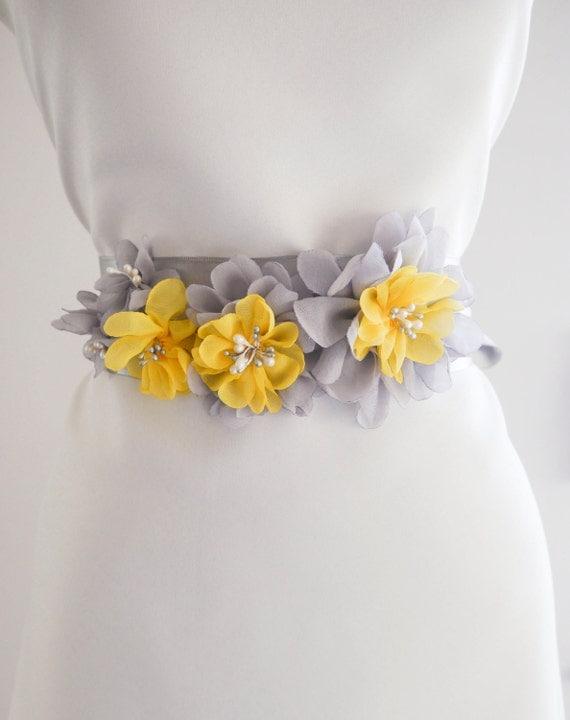 Gray Yellow Flower Bridal Sash, Wedding Sash, Floral Sash, Gray Belt, Yellow Bridal Sash, Wedding Dress Sash, Formal Dress Sash, Gray sash by NLcreation