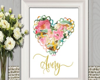 Personalized Name print Personalized Heart printable Girl gift Flower heart Pink and gold Heart art Large Floral Nursery name art Download