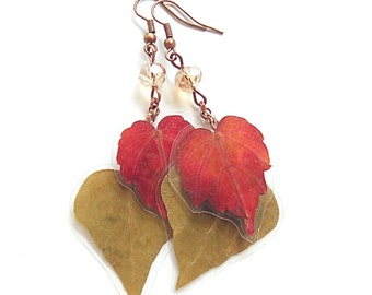Real Flower Jewelry- Leaf Earrings- Botanical Jewelry- Pressed Flowers- Real Leaves- Nature Jewelry