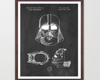 Star Wars - Darth Vader Helmet - Vader Mask - Darth Vader Patent - Star Wars Patent - Star Wars Art - Star Wars Poster - Darth Vader Art