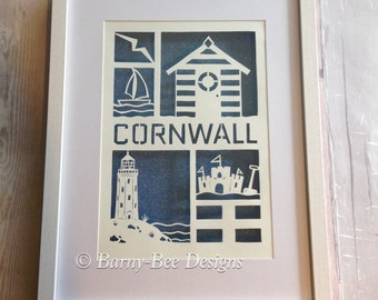 Cornwall Papercut - Art - seaside - Cornish - beach hut - nautical - english seaside - paper - cut - hand cut - lighthouse - seagul