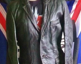 "VINTAGE/RETRO black Leather,hiplength-Glam Rock/Goth/Punk.38"" CHEST-small"