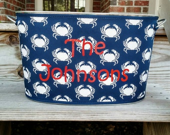 Beverage Tub with Neoprene Cover ~ Personalized, Custom, Monogram ~ Reversible ~ Crab ~ Nautical ~ Galvanized