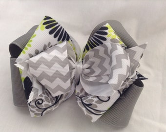 Gray Chevron Hair Bow