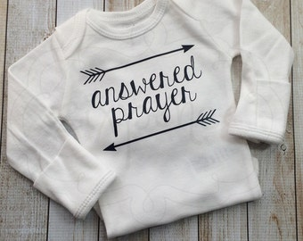 Answered Prayer | Arrow design | Tribal Baby Shirt | Baby Shower Gift | Coming Home Outfit | Graphic | Custom Shirt OR Bodysuit. By Sixpence