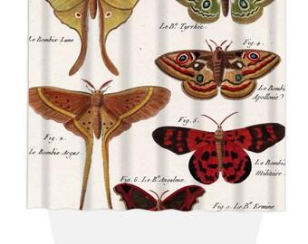 Shower Curtain, Home Decor, Bathroom Decor, Vintage Butterflies Natural