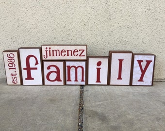 Family blocks - est. year, last name, FAMILY- creme/beige/red themed