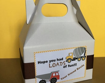 10 Construction Party Favor Boxes, Mini Gable Boxes, Personalized, Customized for your event