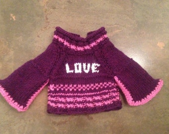 """Hand knitted sweater for 18"""" / 19"""" doll"""