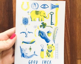 Good Luck Charms A6 Risiographed Postcard