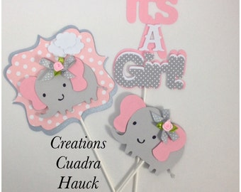 Elephant Centerpieces/ It's a girl/ Pink and Gray/ Elephant theme/ Elephant Shape