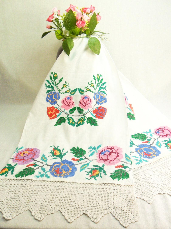 Ukrainian embroidery towel vintage by
