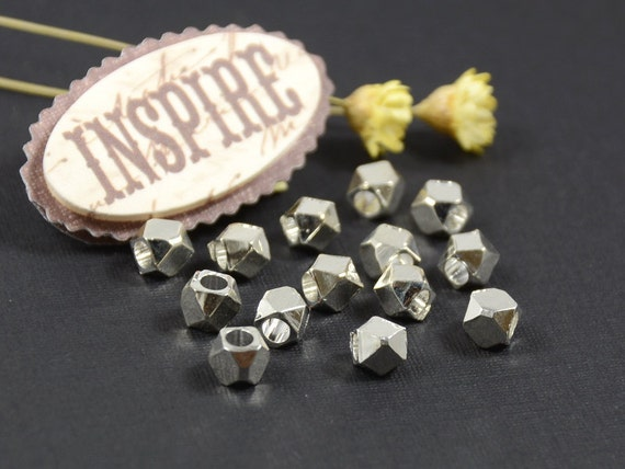 Faceted spacer, 3.5mm, solid metal bead, silver plated spacer, large hole bead - 25 pcs/ order