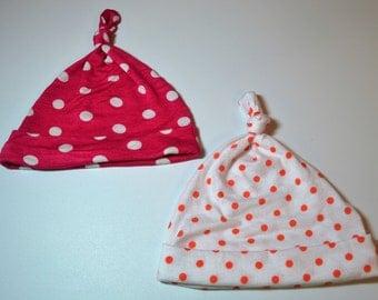 Polka Dot Newborn Beanie. Pink Polka Dot Newborn Beanie. Orange Coral Polka Dot Newborn Beanie. Polka Dot Infant Beanie