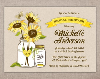 Bridal Shower, Luncheon, Brunch, Rustic, Farm, Sunflower, Country, Summer, Spring, Craft Paper, Mason Jar, Monogram, Printable Invitation