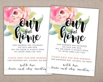 OUR FIRST HOME - Moving Announcement, Address Change Printable, New Home Address Card, Floral Watercolor Address Change Greeting Card