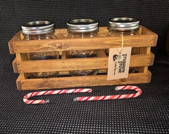Mason Jar Wood Crate Box Organizer
