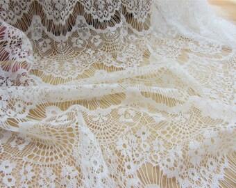 black  Eyelash Lace Fabric,IVORY White Eyelash Lace Fabric by the Yard or Wholesale
