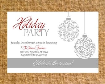 Customized Holiday/Christmas Ornament Party Invite - Digital File