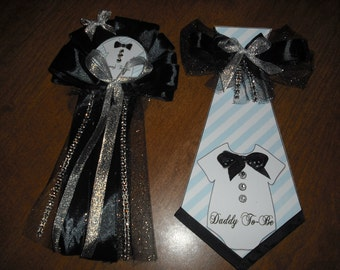 Baby shower Tux onies mommy corsage and daddy to be Tie black and silver