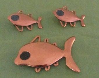 Matisse RENOIR Copper Figural Fish Brooch and Clip Earrings Set