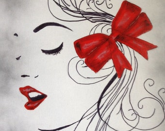 Black and White Art/Painting of Girl with red lips