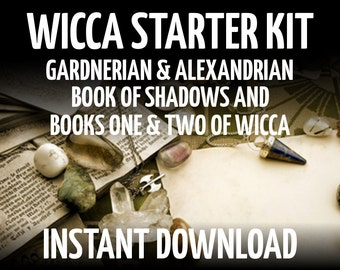 Wicca Starter Kit, Gardnerian and Alexandrian Book of Shadows and Book One and Two of Wicca, Witchcraft, Spell Pages